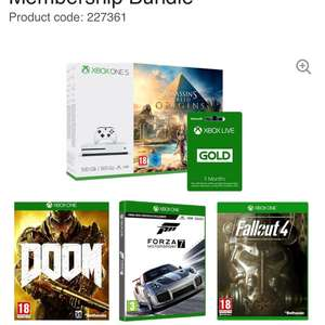 Xbox one s 500gb + Assassins creed origins + Doom + Forza 7 + Fallout 4 AND Xbox Live 3 months £189 Currys