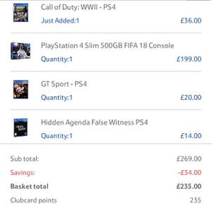 PS4 SLIM 500gb/FIFA 18-COD WW2-HIDDEN AGENDA-GT £235 Tesco