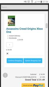 Assassins Creed Origins - digital Cdkeys XBOX One - £31.49 with code CDKEYSBLACK10