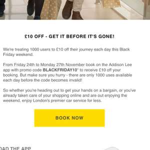 Addison Lee Black Friday £10 off