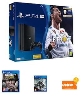PS4 Pro	1TB	with Fifa 18 + CoD WWII + Destiny 2 + NOW TV 2 Months Entertainment - £319.99 @ GAME