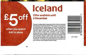 £5 off £40 spend at ICELAND voucher in Friday's Daily Mail (65p) and The Sun (50p) In Store only Valid 'till Dec 5th