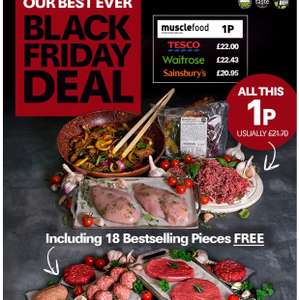 1p Hamper BLACK FRIDAY worth £21.70 @MuscleFood includes chicken, steak, mince etc. Min spend £25 (£3.99 p&p)
