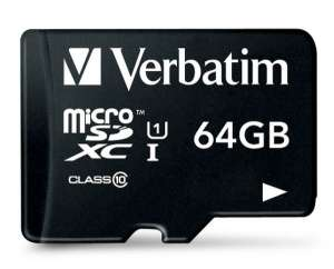 Verbatim 44084 Class 10 Micro SDXC with Adapter - 64GB @PicStop