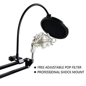 TONOR Professional XRL to 3.5mm Podcasting Studio Recording Condenser Microphone with Adjustable Microphone Suspension Scissor Arm Stand & Microphone Kits Black
