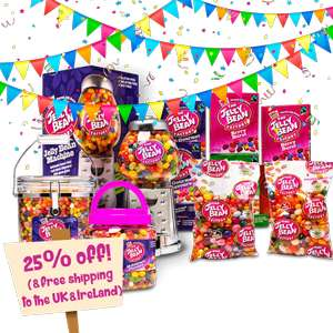 The jelly bean factory 25% off Everything and Free Delivery.