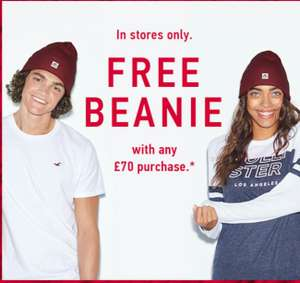 Free Beanie with £70 purchase @ Hollister