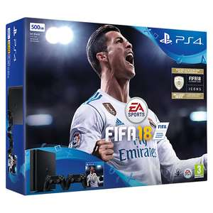 Sony PlayStation 4 Slim Console, 500GB, with 2 DUALSHOCK 4 Controllers and FIFA 18, Jet Black, (John Lewis)