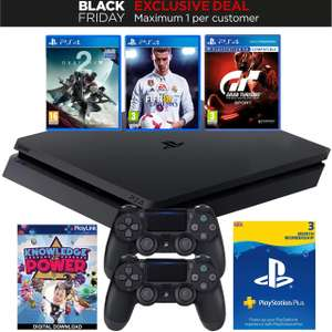 PlayStation 4 500GB with Fifa 18, Destiny 2, GT Sport, Knowledge is Power, 3 Months PS Plus & Extra Controller Bundle - Black £249.99 Delivered @ AO