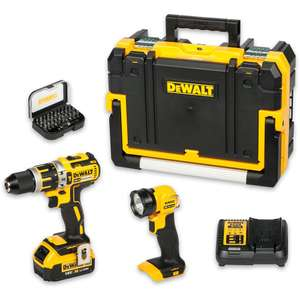 DeWALT DCD795M1 Brushless Combi Drill, Torch, 4ah xr battery, charger, case & Bit Set - £159.96 @ Axminster