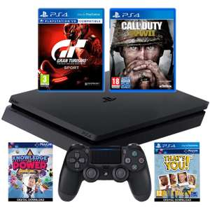 PlayStation 4 PS4 500GB with COD WWII, That's You, GT Sport and Knowledge is Power Bundle - Black ao.com for £199.99