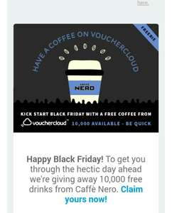 Free Hot Drink (or 2) at Caffe Nero - 10,000 available (by Invitation from VoucherCloud)