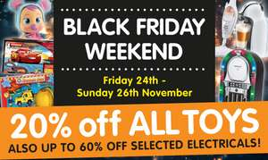 20% off All toys + 60% off selected Electricals @ B&M