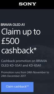 Sony UK Cashback promotion on BRAVIA OLED KD-55A1 and KD-65A1 @ Sony