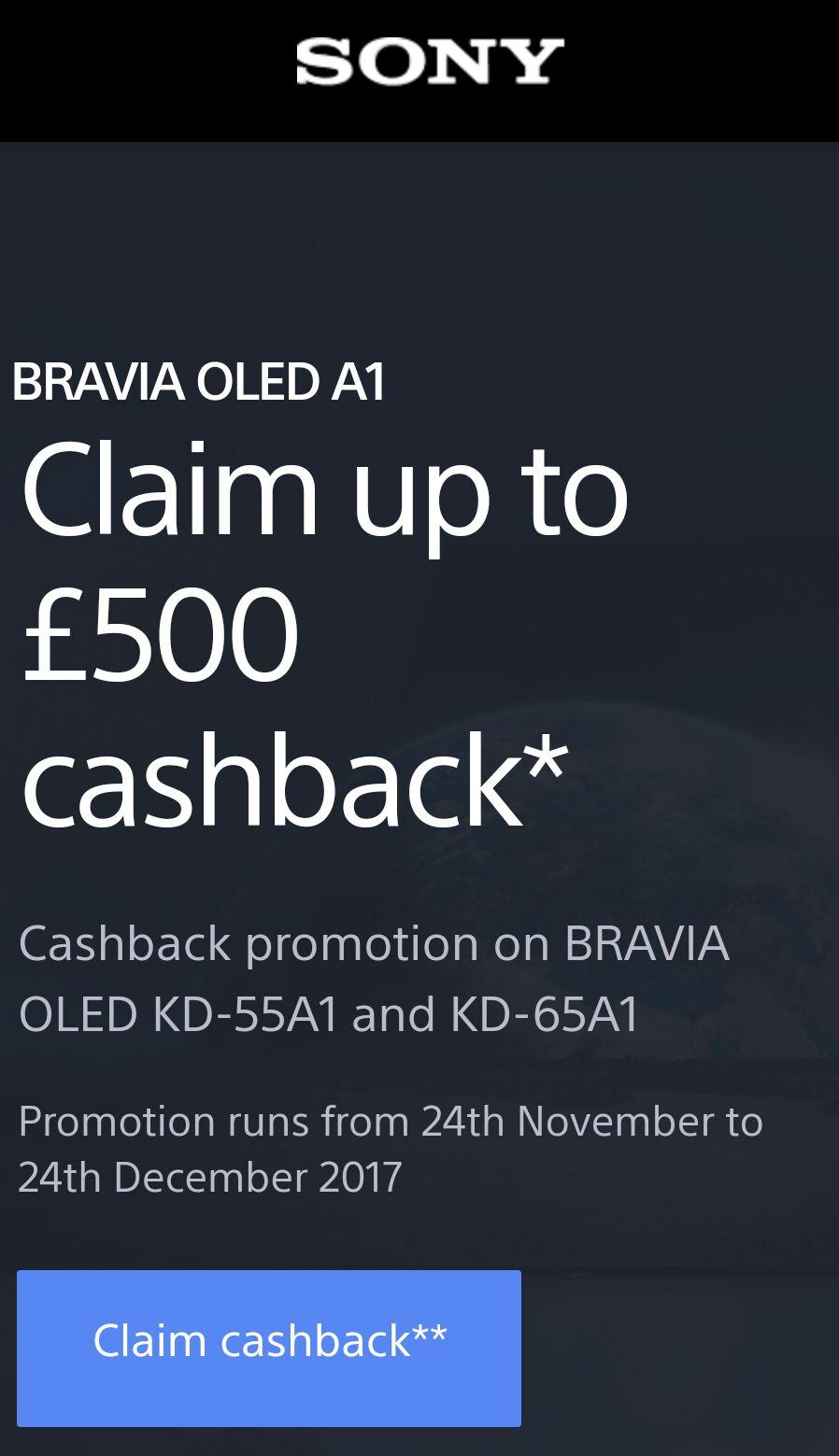 Sony UK Cashback promotion on BRAVIA OLED KD-55A1 and KD-65A1 @ Sony