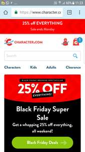 Character.com has 25%off til Monday (taken off in basket) backpacks from £1.95 and then tshirts, pj's, accessories and so on (free delivery over £25)