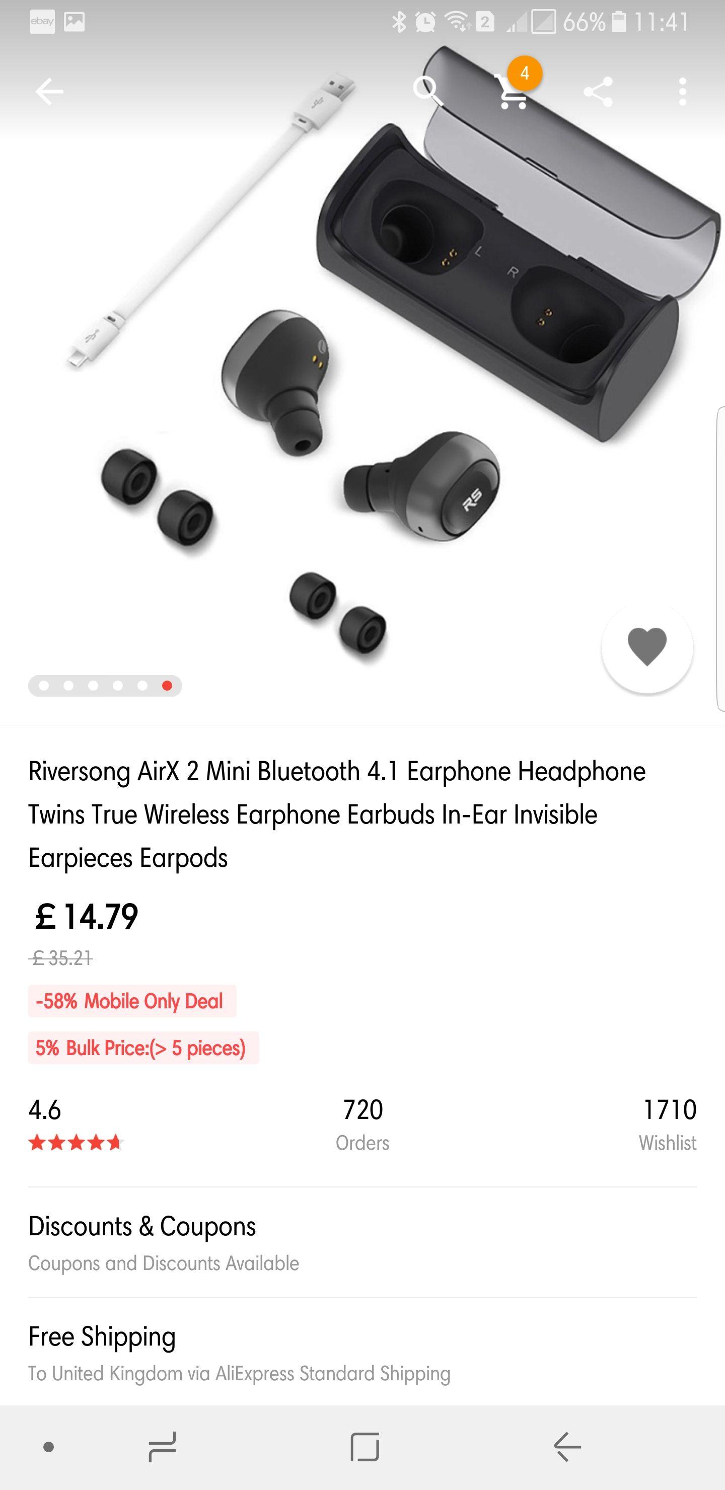 Riversong AirX 2 Mini Bluetooth 4.1 Earphone Headphone Twins True Wireless Earphone Earbuds In-Ear Invisible Earpieces Earpods £14.79 aliexpress