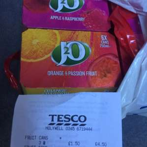 Box of 6 J20 cans £1.50 Tesco instore
