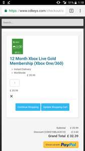 Xbox live 12 months for £32.39 @ CDKeys using code CDKEYSBLACK10