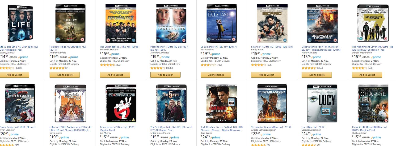 2 4K blurays for £30 @ Amazon