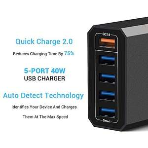 Lumsing Quick Charge 2.0 40W Multi-Port USB Desktop Charger + 5 usb cables free, , 1 Port QC2.0 + 4 Port with Smart IC Technology, 5 Port Desktop Hub for SmartPhones-Black - £12.99 (Prime) £16.98 (Non Prime) @ Sold by Bifrost UK and Fulfill