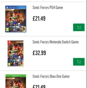 Sonic Forces [Xbox One/PS4] for £21.49 @ Argos