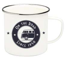 VW T1 Campervan On The Road Enamel Tin Mug at Campervan Gift for £6.45 delivered