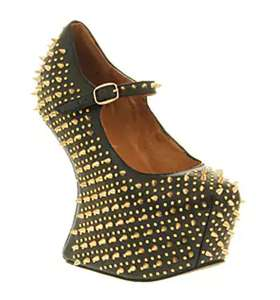 Size 3 & 4 Jeffrey Campbell Prickly Wedge Black Leather Gold Spike Shoes £16 with code @ Office