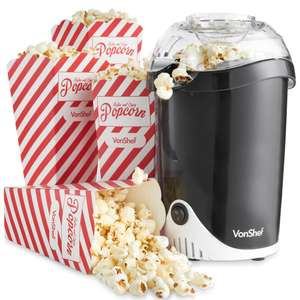 VonShef Fat-Free Hot Air Popcorn Maker + 4 Popcorn Boxes + Measuring Spoon £12.99 Del @ Domu
