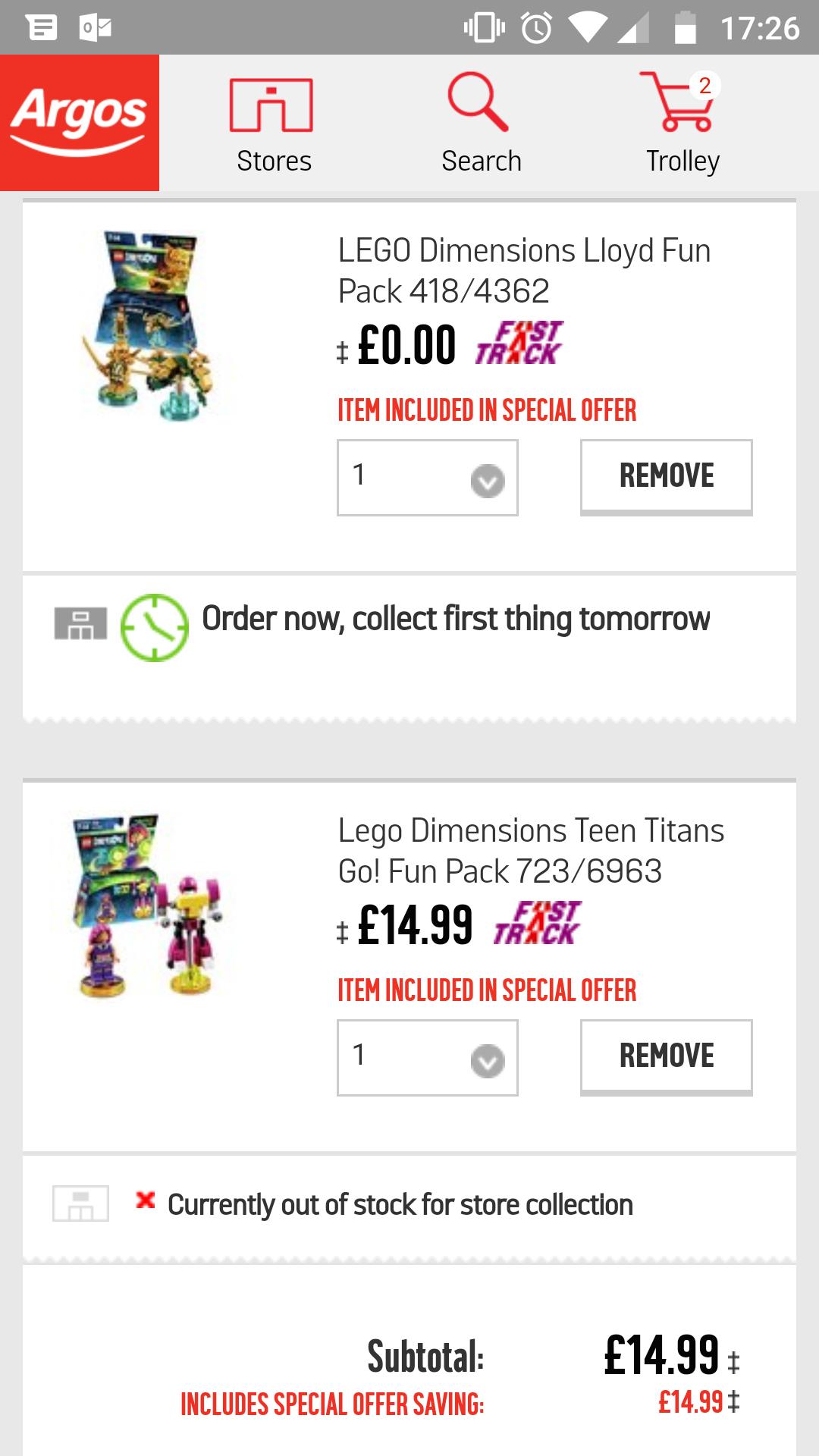 Various Lego dimensions BOGOF £14.99 @ Argos