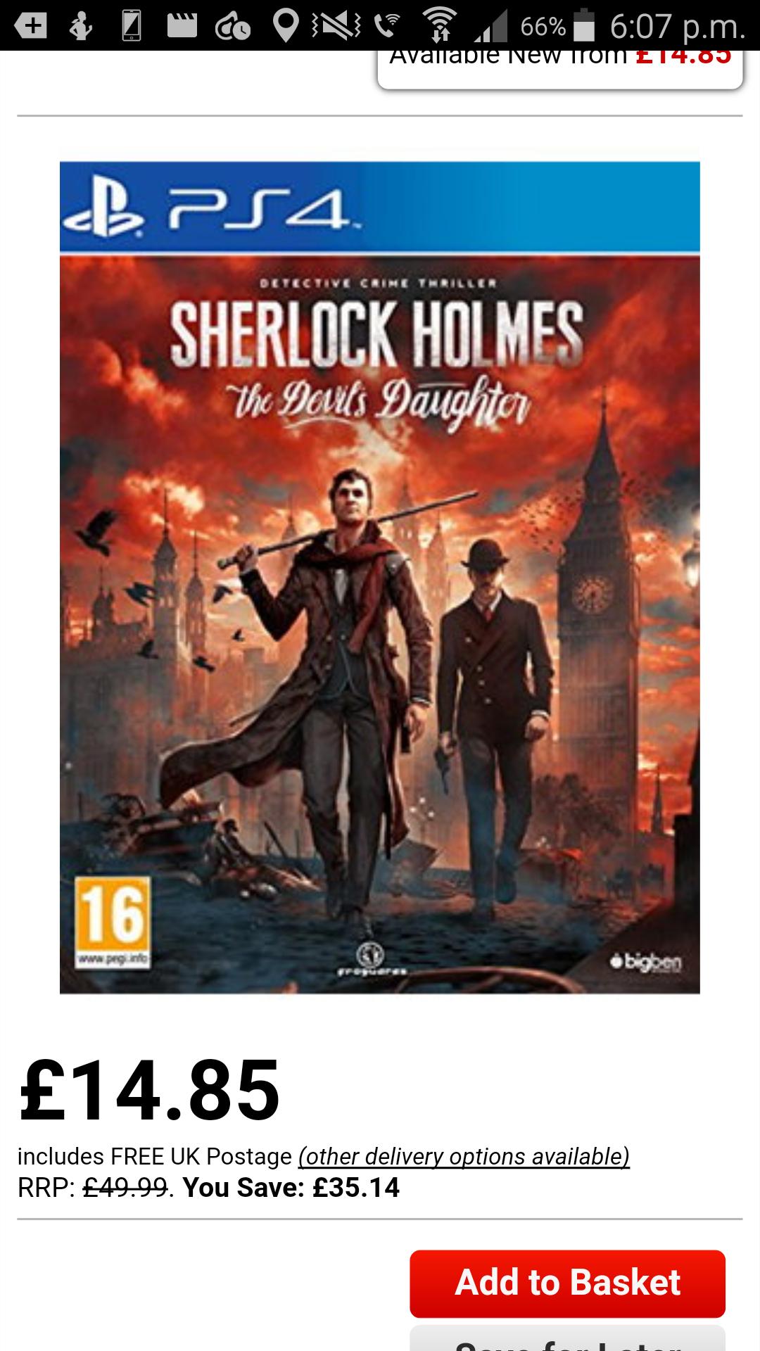 Sherlock holmes ps4 £14.85 @ Base