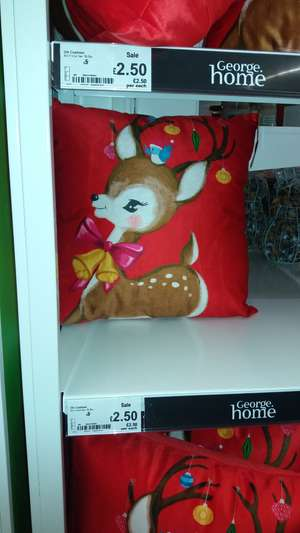 Asda in-store  half price Christmas cushions from £2:50