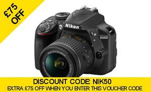 Nikon D3400 & 18‑55mm f3.5‑5.6G AF‑P DX VR Lens with FREE Accessory Kit £364 @ Camera World