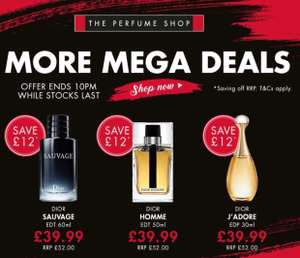 Dior sauvage £39.99 for a 60ml until 10pm tonight - £39.99 @ The Perfume Shop