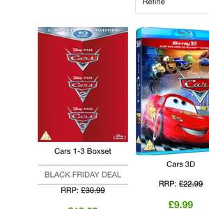 Cars 1-3 Blu Ray boxset - £16.14 (with code) @ Zavvi