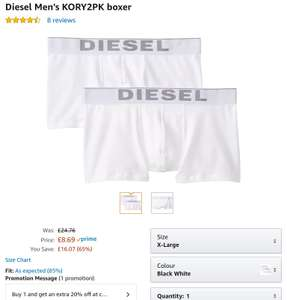 Men's Diesel kory 2 pack . White XL only £6.95 after discount at Amazon Prime