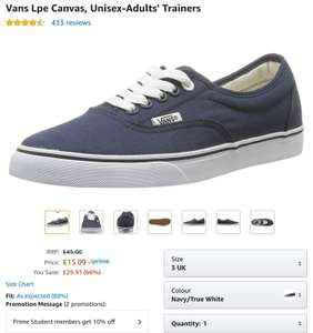 Blue Vans size 3 only £10.56 after discounts (Students only) @ Amazon. Free prime delivery