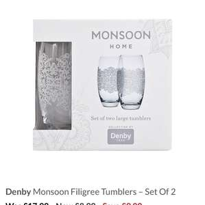 Denby Monsoon Filigree Tumblers – Set Of 2 @ Very Was £17.99 Now £8.99 Save £9.00