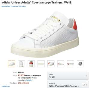 Adidas court vantage trainers size 13 with free delivery at amazon (other large sizes available) - £20.63