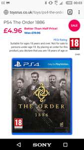 The Order 1886 Toysrus £4.96