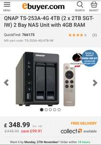 QNAP TS-253A for £348.99 at Ebuyer