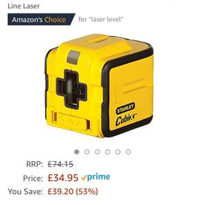 Stanley Intelli Tools INT177340 Cubix Self Levelling Cross Line Laser £34.95 Delivery at no additional cost for Prime Members You Save:	£39.20 (53%)
