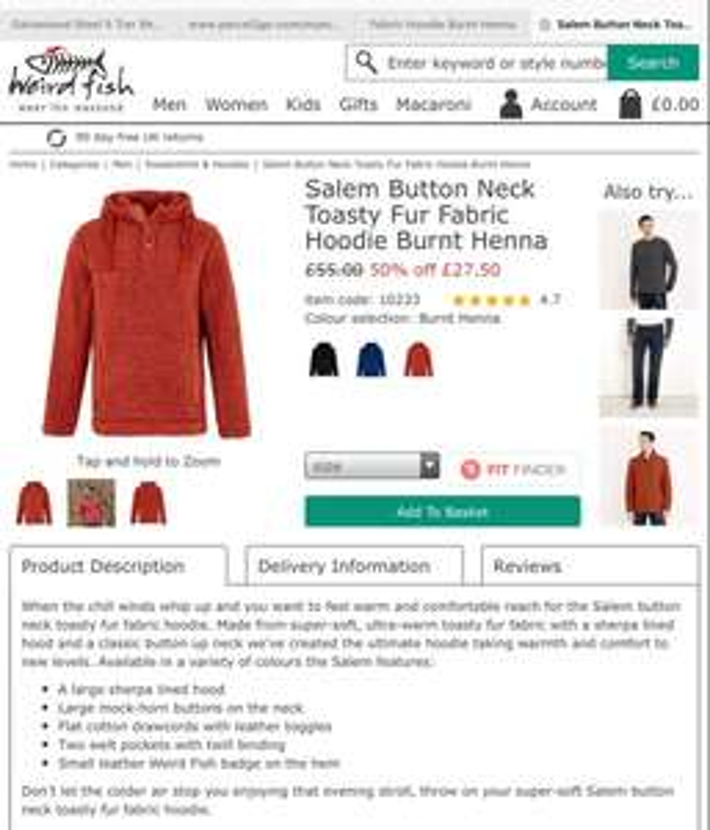 Weirdfish mens hoodie £24.75