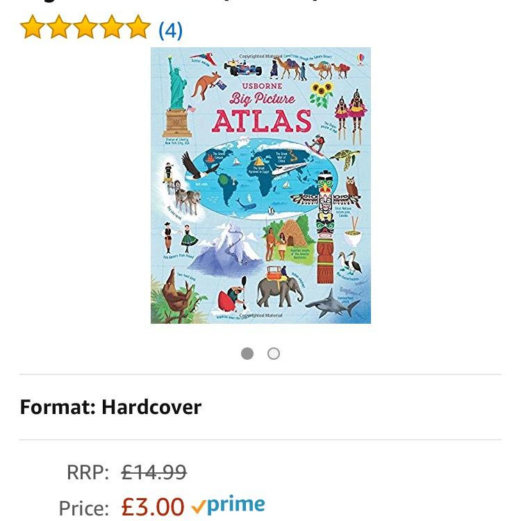 Usbornes Hardcover big picture atlas £3 prime / £5.99 non prime @ Amazon
