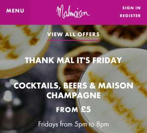 Enjoy £5 long drinks, £6 classic cocktails and glasses of Maison Champagne at Malmaison