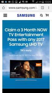 Claim a 3 Month NOW TV Entertainment Pass with any 2017 Samsung UHD TV @ Samsung