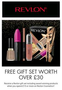 FREE GIFT SET WORTH OVER £30 when you spend £15 or more on Revlon Cosmetics @ Boots