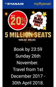 Ryanair - up to 20% off 5 million seats (book by 26th November '17)