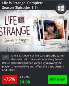 Complete season of Life is strange 1-5 on pc and apple devices - £4 @ Greenman Gaming
