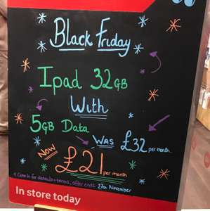 5GB SIM DEAL + FREE Apple iPad 32GB  £21 p/m 24 months £504 - VODAFONE instore OFFER